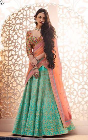 Turquoise Dhupion Handloom Silk Lehenga Choli