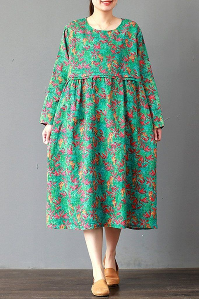 e8e8b5b89bf3 FantasyLinen Loose Linen Floral Dress