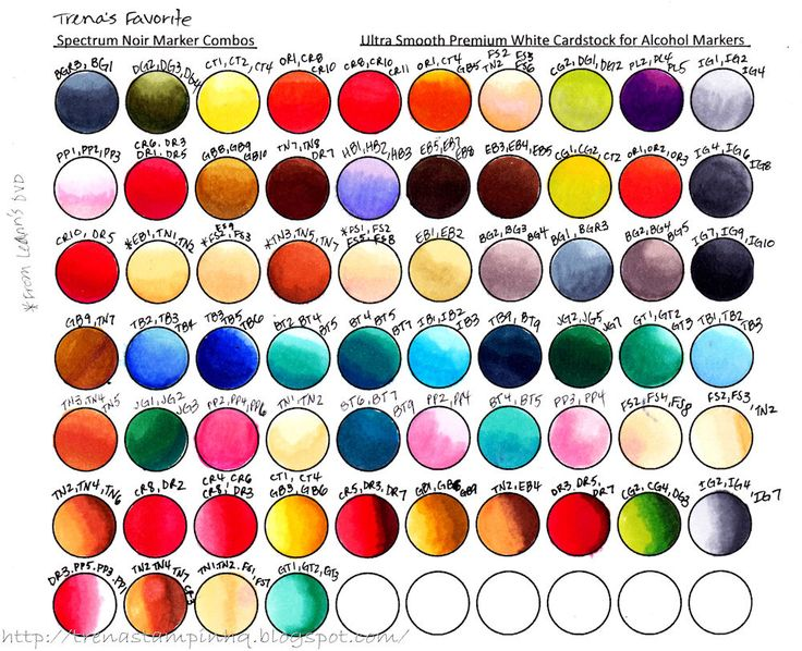 Color Combo Chart for Spectrum Noir Markers; plus downloadable chart to print and create your own color combos!