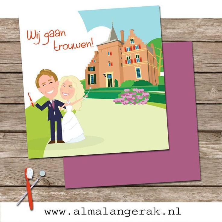 Custom illustrated wedding invite  Maatwerk trouwkaarten  #custom #weddinginvite #castle #kasteel #wijenburg #cartoon #maatwerk # trouwkaarten