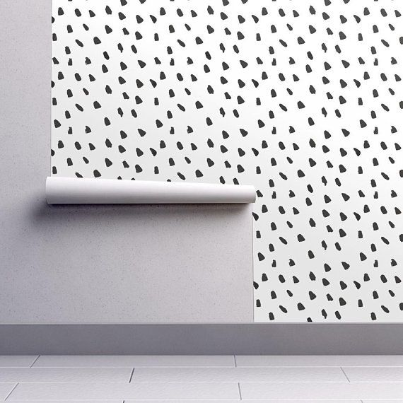 Spots Wallpaper Large Painted Black Dot White By Weegallery Neutral Custom Printed Removable Self Adhesive Wallpaper Roll By Spoonflower Spotted Wallpaper Black Dots Self Adhesive Wallpaper