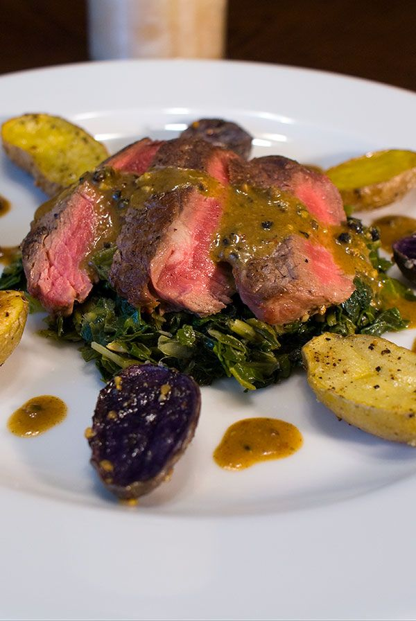 Pan Seared Petit Fillet Steak with Mustard Sauce Recipe