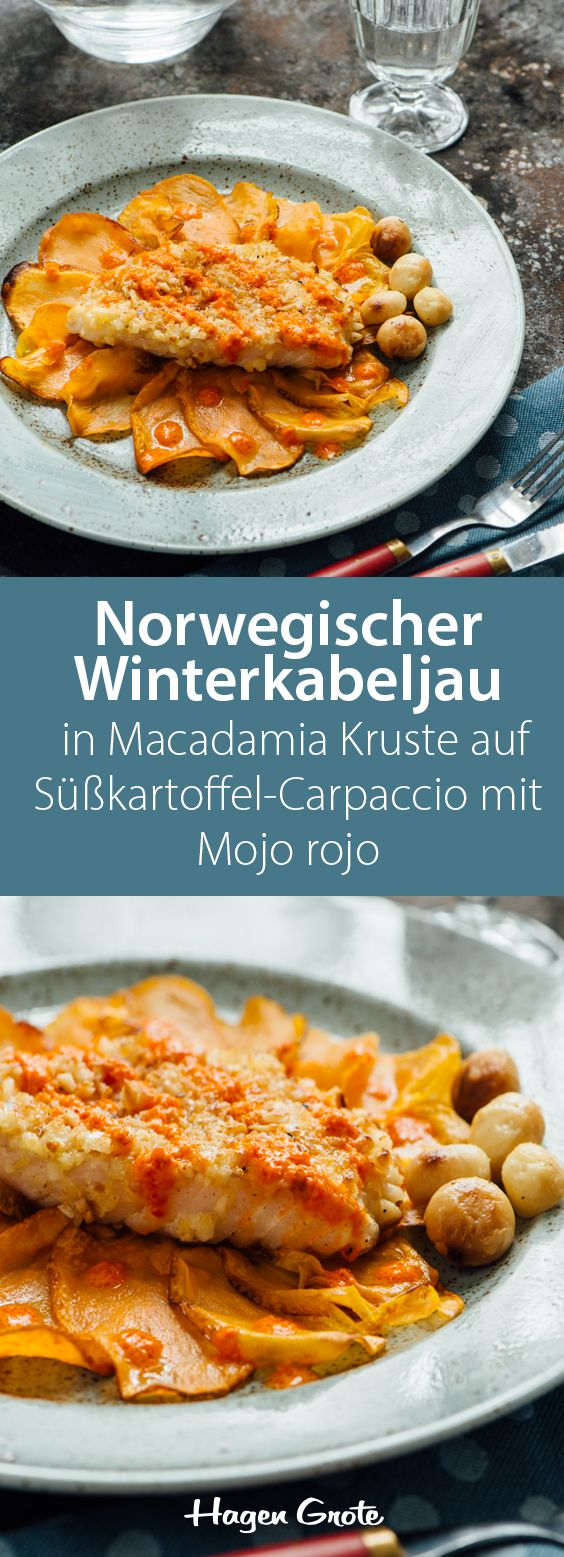 Norwegischer Winterkabeljau (Skrei) in Macadamia Kruste auf Süßkartoffel-Carpaccio mit Mojo rojo