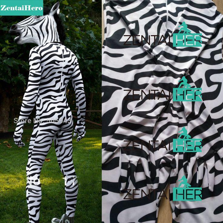 ==> [Free Shipping] Buy Best Free Shipping DHL Zebra Headless Suit with Head Horse Mask Zentai Unitard Lycra Spandex Skin Catsuit Party Halloween Costumes Online with LOWEST Price | 1909389711