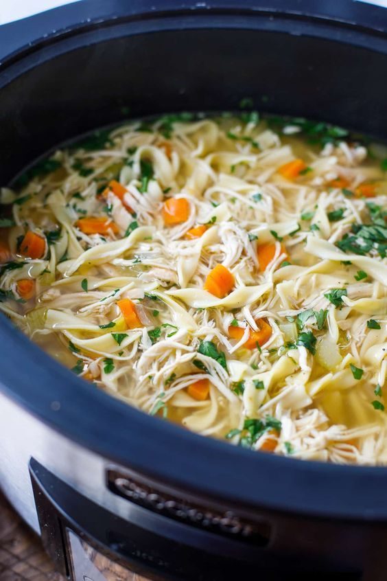 Crock Pot Soup Of Noodles With Chicken   – Food