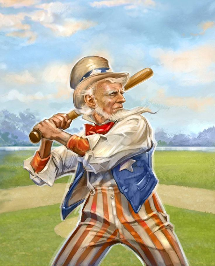 What's more American than Uncle Sam or Baseball? Uncle Sam playing baseball!! 🤣🇺🇸⚾️ Today's #dailyartpick is from Rob Johnson!