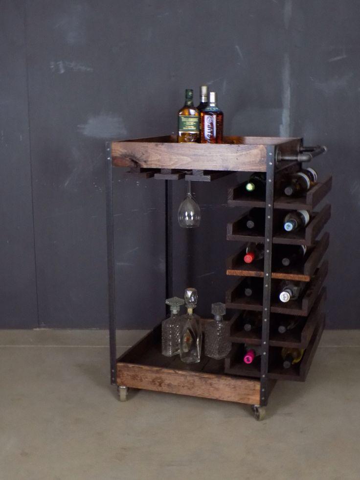 Bareknuckleworkshop In Chicago Custom Industrial Bar Cart 8 Made Of Pine Steel And Black