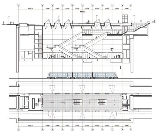 Copenhagen Metro - Drawing showing cross section of a Metro station from the passenger station to the platform with the train and mechanical area below.