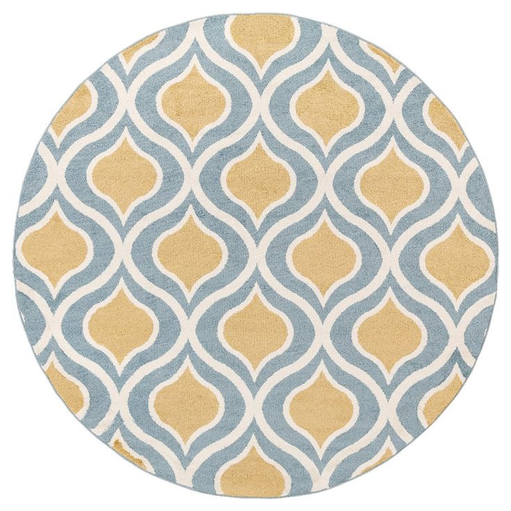 Mustard (Yellow) Abstract Tufted Round Area Rug   (7u002710 Round)