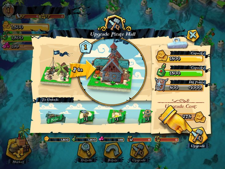 Plunder Pirates by Midoki - Upgrade Pirate Hall - Game UI HUD Interface Art iOS Apps
