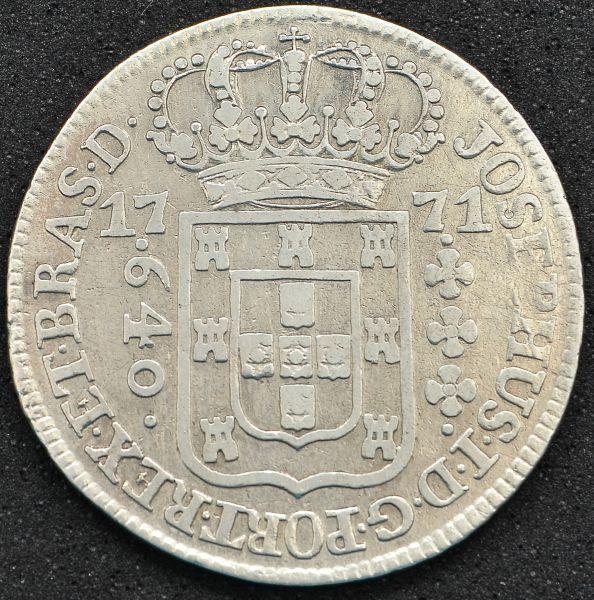 Numismática: Moeda do Brasil Colônia, 640 Reis, Ano 1771, SUBQ, Casa da Moeda de Lisboa, Prata, MBC
