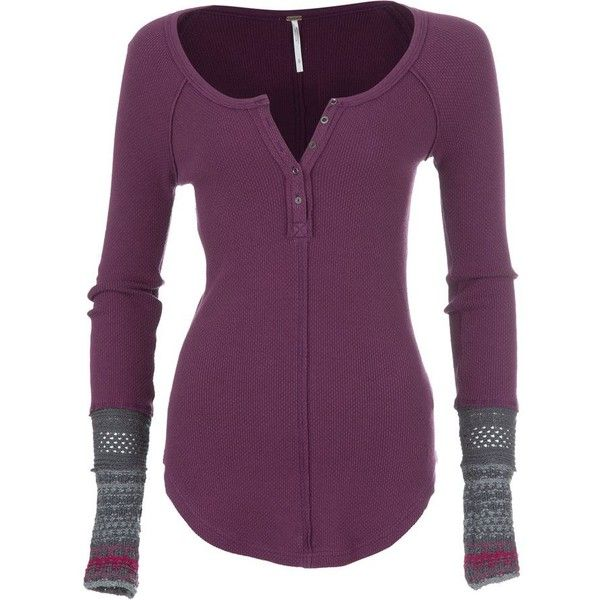 Free People Ski Lodge Newbie Thermal Cuff Shirt Long-Sleeve Women's ❤ liked on Polyvore featuring tops, shirts, thermal tops, long sleeve thermal top, purple shirt, long-sleeve shirt and long sleeve henley shirt