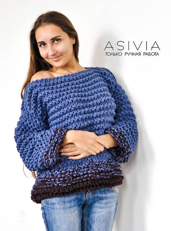 Женский свитер 812 Asivia ручной работы, Сине-коричневый