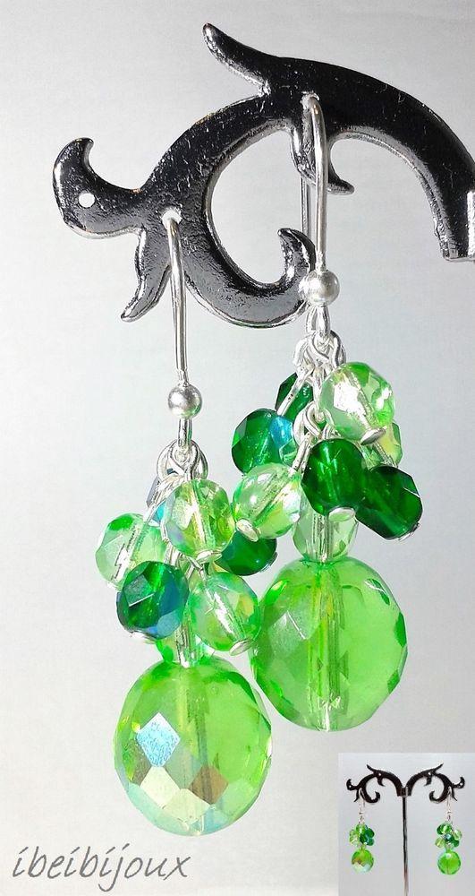 orecchini pendenti donna handmade mezzi cristalli verde peridoto e smeraldo