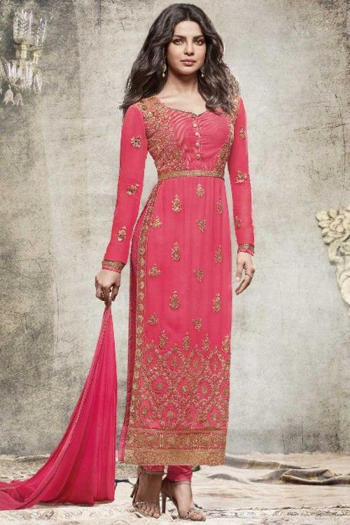 Priyanka Chopra Bollywood Pink Georgette Churidar Suit With Dupatta Online   http://www.andaazfashion.co.uk/bollywood-dresses-online