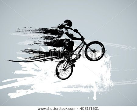 Boy with bmx, editable vector