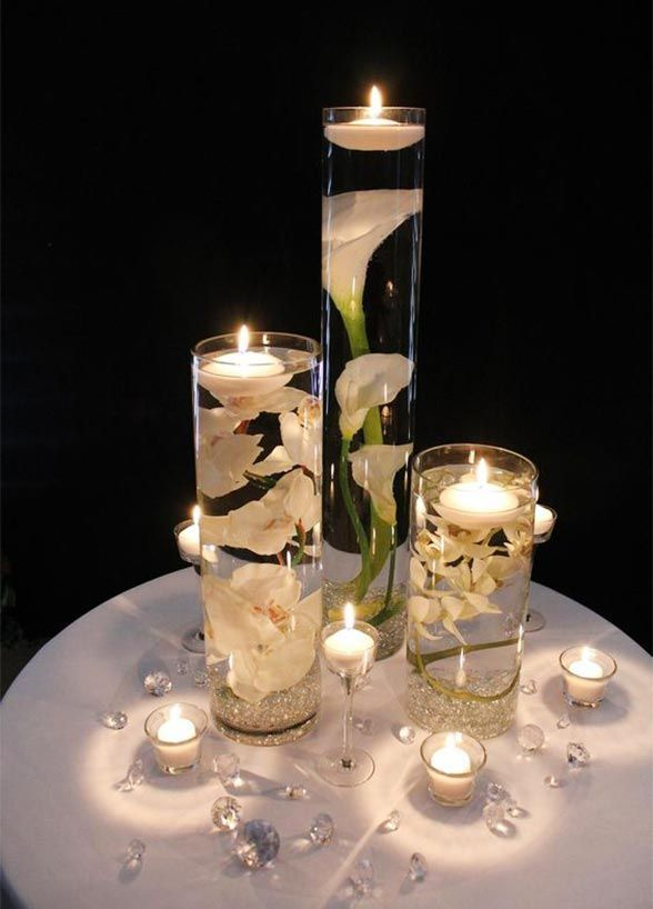 10 Unbelievably Creative Centerpiece Ideas: Fabulous Floating Candles. Floating candles are elegant, set the mood, and are an affordable way to make a big impact with your wedding dcor.