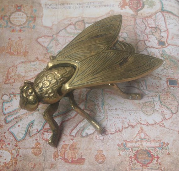 brass fly, brass fly ornament, brass fly box, insect box, brass insect box, insect sculpture, articulated insect, collectible, gothic,