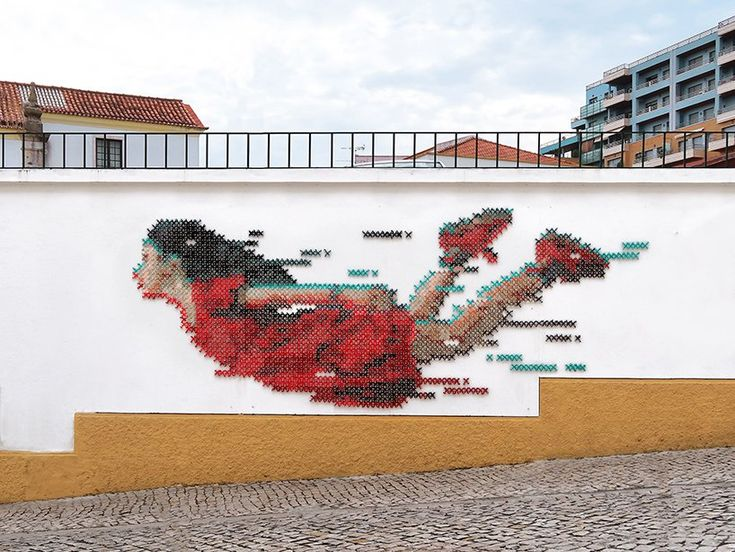 cross-stitch street art: portuguese artist combines digital and analog design   – Embroidery and Needelpoint
