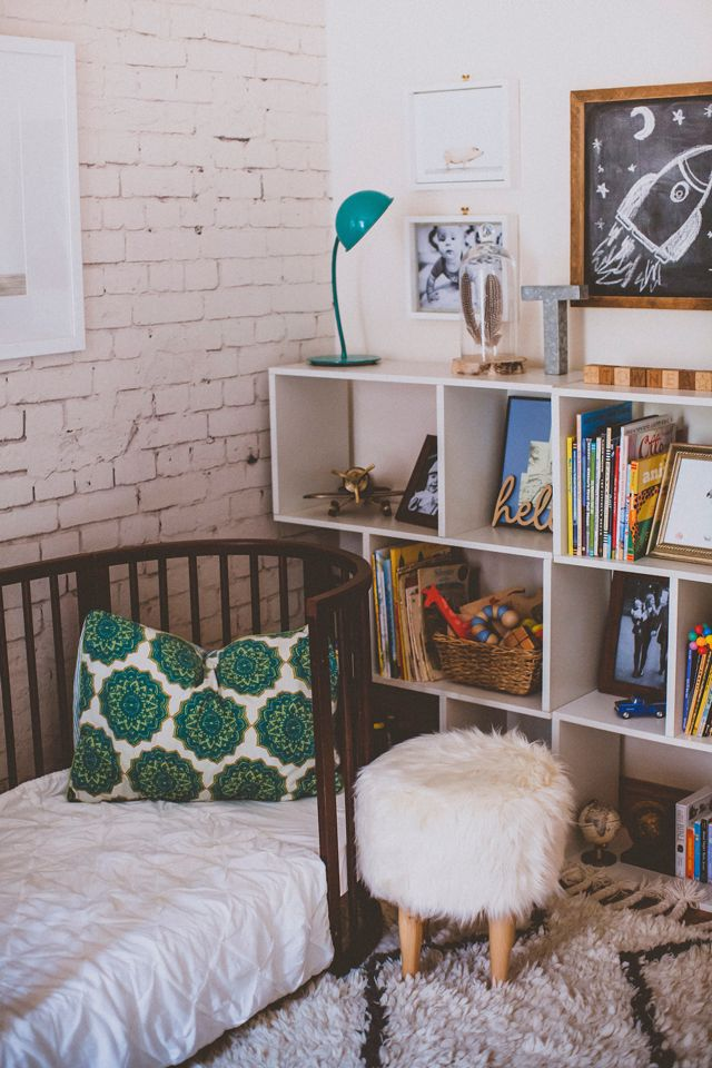 Eclectic Toddler Boy's Room with Faux Brick and Stokke Sleepi Bed in NYC home of @JodiKendall via @ProjectNursery
