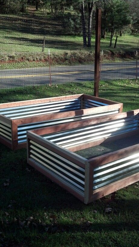 Raised planter made with redwood and corrugated steel garden yard ideas pinterest raised for Corrugated metal raised garden beds