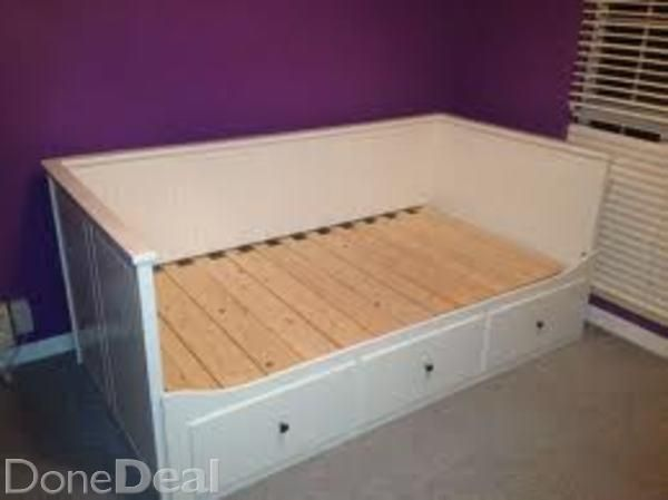 Ikea HEMNES day-bed fulfills four functions:- single bed- double bed- sofa - 3 x large drawersIdeal for kids or guest rooms! Immaculate conditions!Size/footprint: 87x211 cm, extandable to 168x211 (double bed)New price: for the bed frame € 345   2 x Sultan 80x200 matresses € 90/each, Total € 525#xtor=CS1-41-[share]