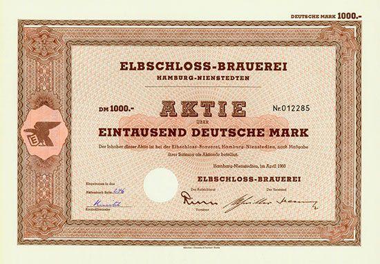 Elbschloss-Brauerei Hamburg-Nienstedten, April 1960, Aktie über 1.000 DM