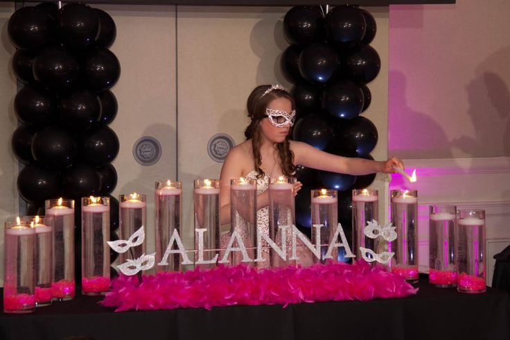 LED Candle Lighting Display Masquerade Candle Lighting Display with Pink LED Cylinders, Floating Candles & Glittered Name