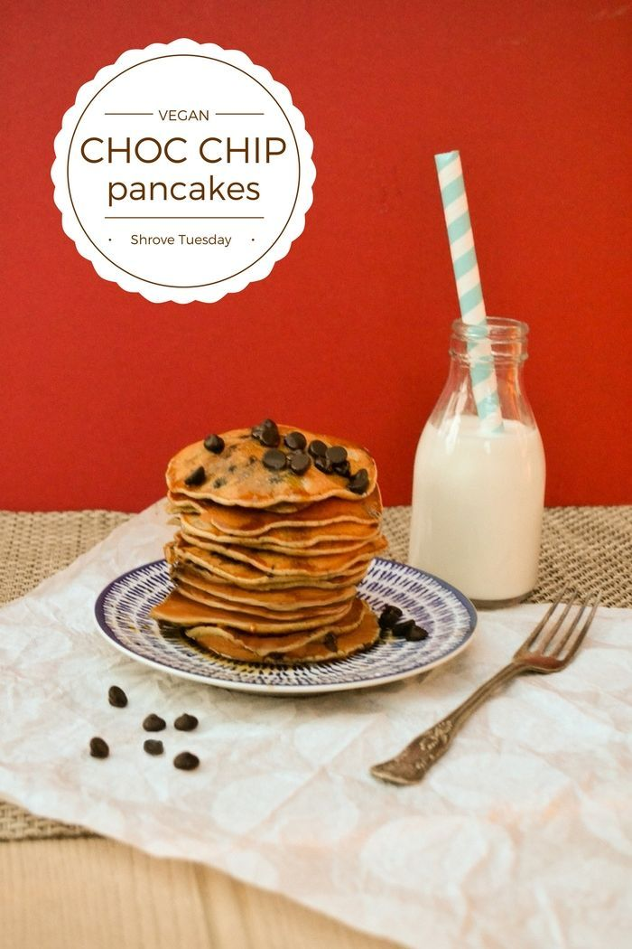 Traditional Scotch pancakes for Shrove Tuesday (Pancake Day) made with simple ingredients but no dairy. They are fluffy with a good rise and studded with dark chocolate chips for that naughty finishing touch. Serve them warm with maple syrup. www.tinnedtomatoes.com