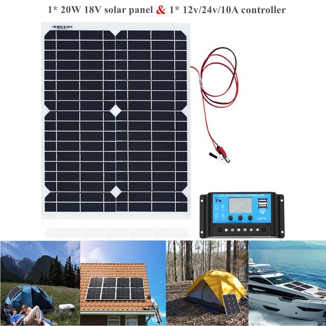 20w Portable Solar Powered Panel Cells Poly Module Battery Charger 1 5m Cable 10a 12v Solar Charge Co Portable Solar Power Solar Power Solar Panels Information