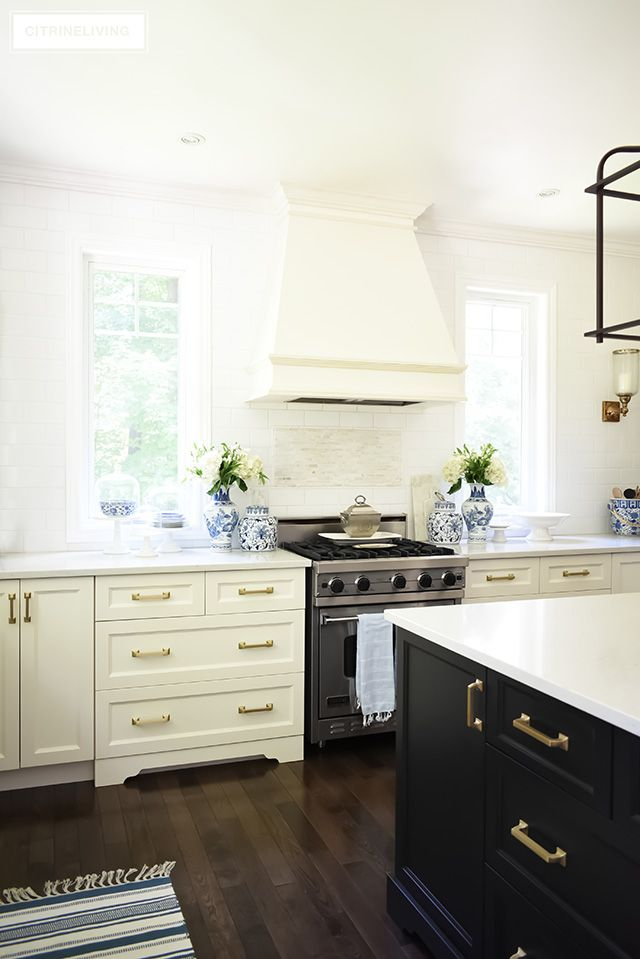 New Brass Hardware Pulls And Faucet Citrineliving White Kitchen Lighting White Kitchen Remodeling White Kitchen