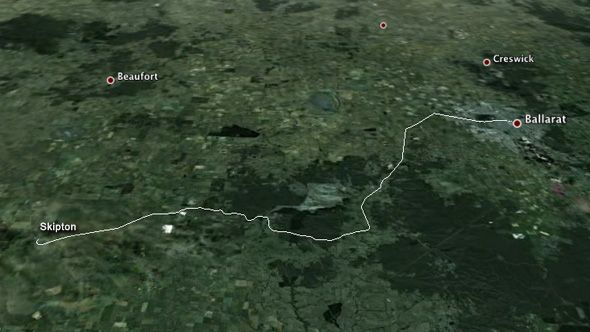 Ballarat-Skipton Rail Trail - route on satellite photo.  Full distance is 56km.