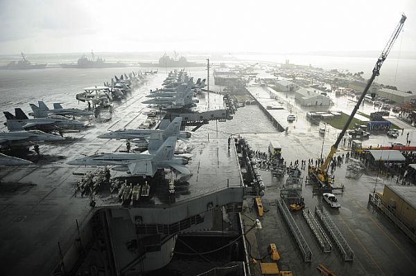 Bird's-eye view of USS Dwight D. Eisenhower (CVN 69) pierside in Mayport, Fla.