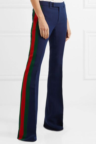 Navy, red and green wool and silk-blend cady  Concealed hook, button and zip fastening at front 51% wool, 49% silk; lining: 64% viscose, 36% polyester Dry clean Made in Italy