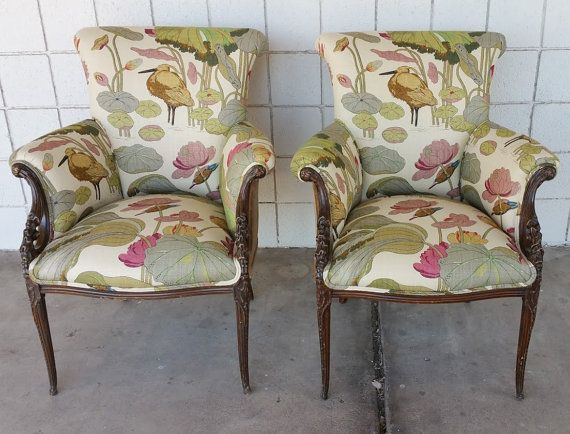 A pair of antique chairs upholstered in G.P Baker Nympheus Biscuit Linen and velvet back. Beautiful fabric pattern and great sturdy chairs.