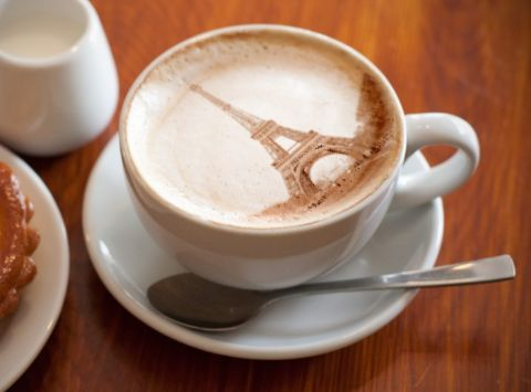 Latte art, in Paris! I would just look at the art and never drink the coffee. :P