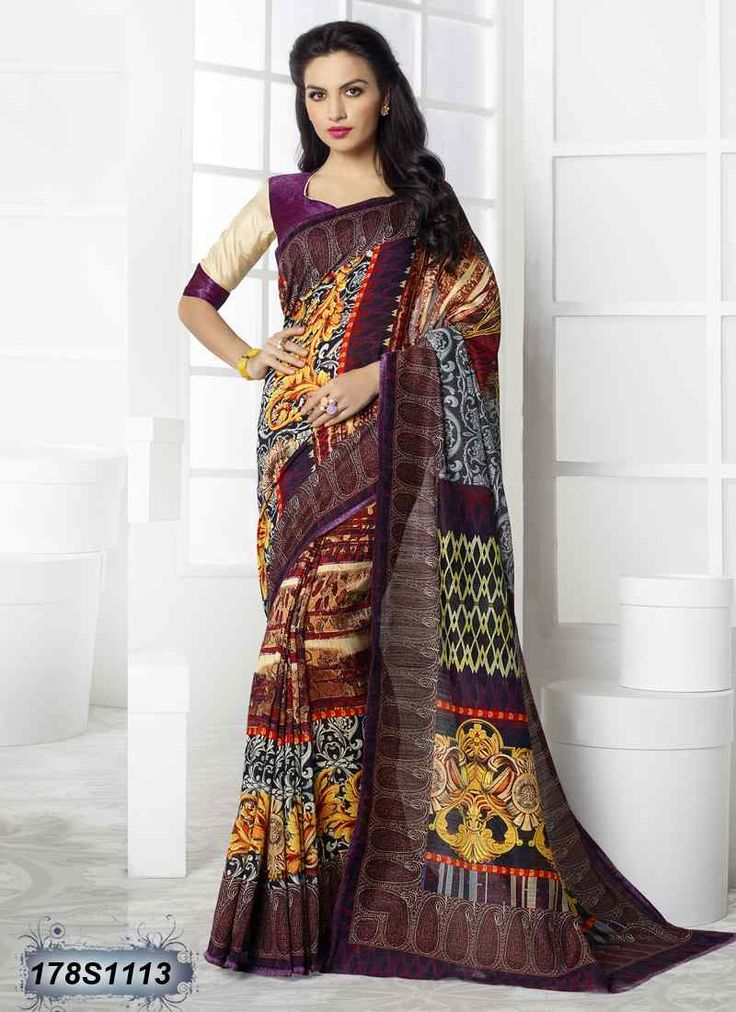 Engrossing Multi Coloured Linen Casual saree