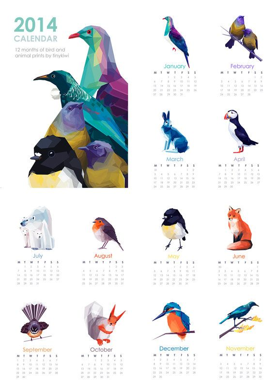 2014 NZ Calendar Geometric prints Original por tinykiwiprints