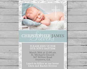 Blue Baptism Invitation Boy Baptism Invitation by printablecandee