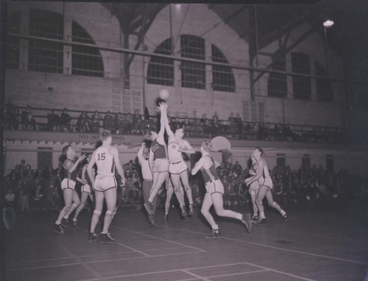 Photograph:  Basketball from University of Virginia Visual History Collection;  Albert and Shirley Small Special Collections Library, University of Virginia.