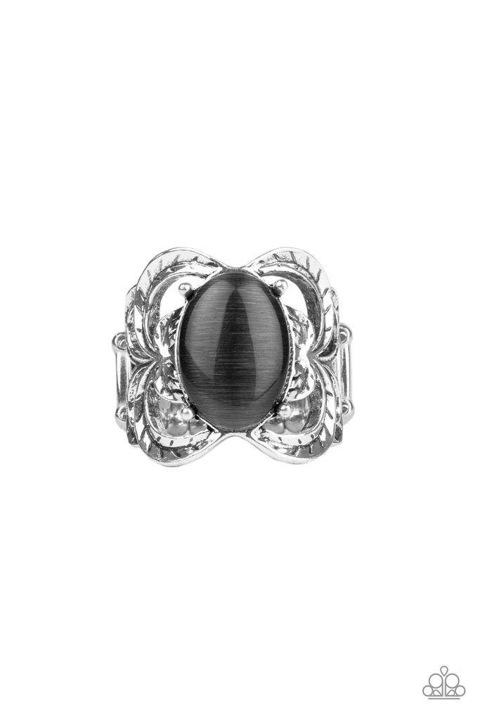 Paparazzi Go For Glow Black Silver Cats Eye Stone Silver Leafy Design Ring In 2020 Sieraden Ideeen Sieraden
