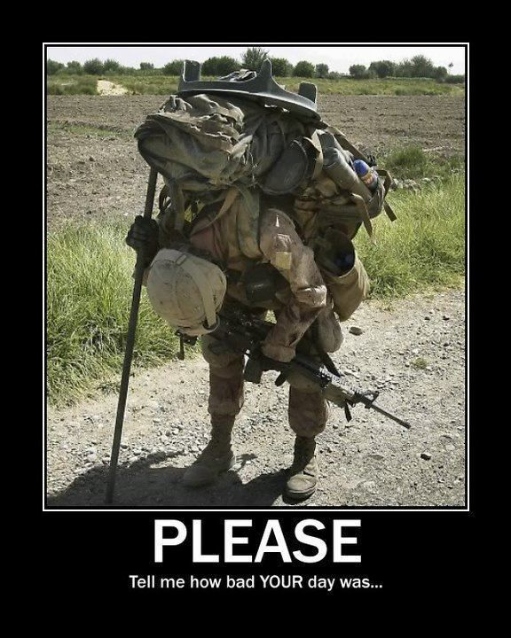 A Light Infantry mortar-man attempting to momentarily relieve his load. Along with the standard 75 lbs of combat ready equipment (minus his weapon and ammo) he must also carry the mortar base plate and at least 4 mortar rounds. His buddy would be carrying the mortar itself...on his back. Just another day in the field.