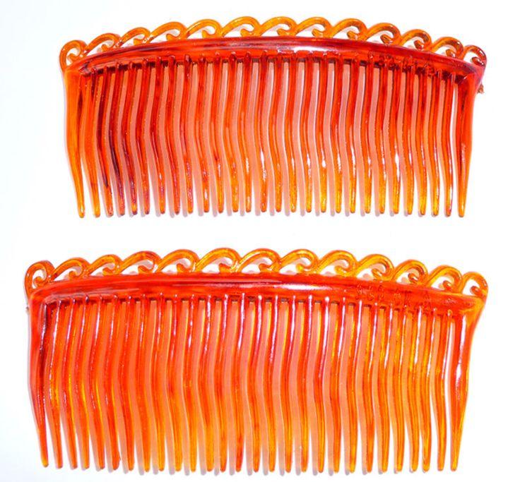 2 Delicate Vintage 8.5cm Faux Tortoisehell Wave Hair Combs #Unbranded