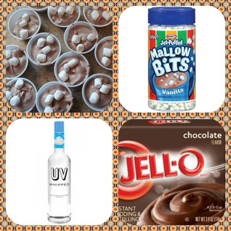 Frozen Hot Chocolate Pudding Shots 1 small Pkg. chocolate pudding 3/4 Cup Milk 3/4 Cup Whipped vodka 1 cup Jet-puffed marshmallow bits 8oz tub Cool Whip  Directions 1. Whisk together the milk, liquor and instant pudding mix in a bowl until combined. 2. Add cool whip a little at a time with whisk. 3 Stir in marshmallows 4..Spoon the pudding mixture into shot glasses, disposable 'party shot' cups or 1 or 2 ounce cups with lids. Garnish with marshmallows and place in freezer for at least 2…
