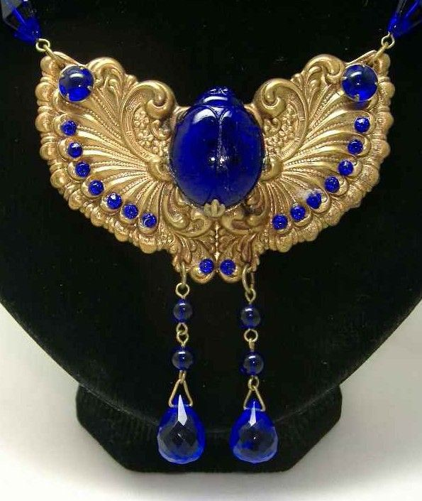 1920s Egyptian revival scarab beetle necklace