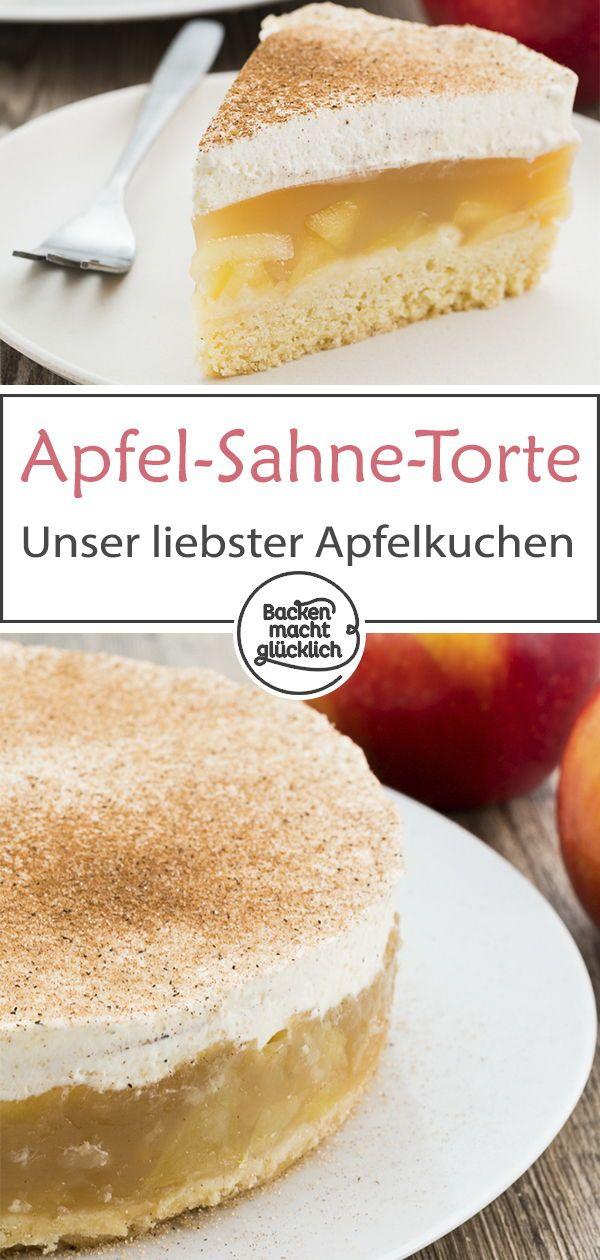 Apfel Sahne Torte Mit Pudding Rezept Mit Bildern Apfel Sahne Torte Kuchen Und Torten Kuchen