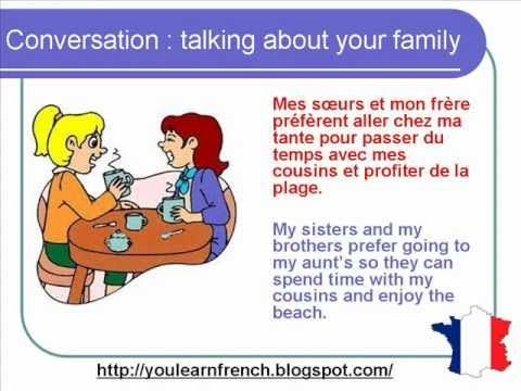 French Lesson 70 - Talking about your family - Informal dialogue conversation + English subtitles