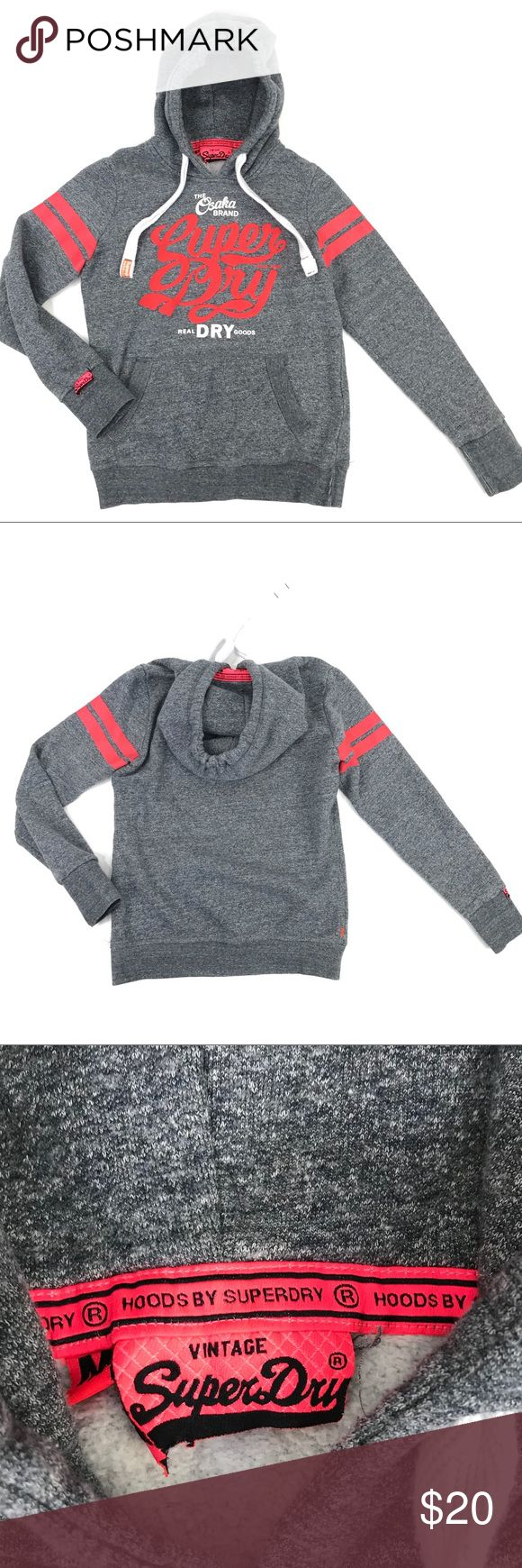 Super Dry Hoodie Sweatshirt Gray Raised Logo Super Dry Hoodie Sweatshirt Womens Medium Gray Raised Logo Osaka Brand Superdry   Condition: Pre-owned Gently Worn Some of the color from the stripes on the arm has spread under the arms slightly   Measurements taken while garment was laying flat: These measurements were personally taken and are approximate:  Underarm to Underarm Seam inches- 20 Length from shoulder seam to hem inches- 25 Length across Bottom inches-  17 (un-stretched) Bottom of…