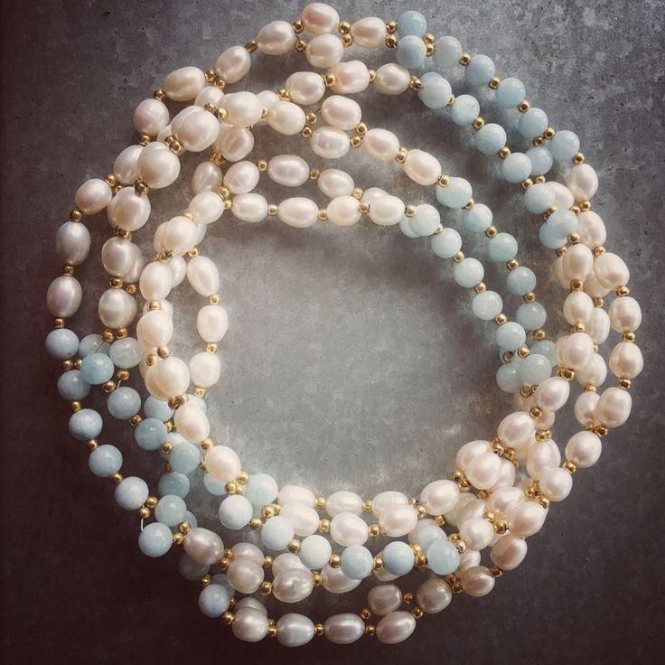 Aquamarine and fresh water pearl Tantric Mala NEW