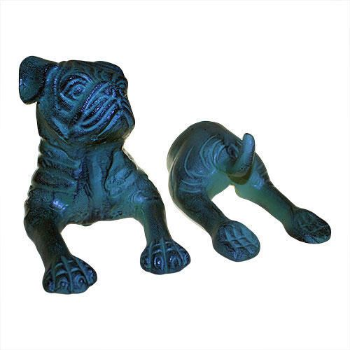 Metallkrok Bulldog i  2 delar Vintagestil i Petrolblå -Teal